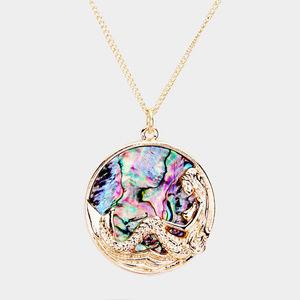 Abalone Mermaid Round Pendant Necklace